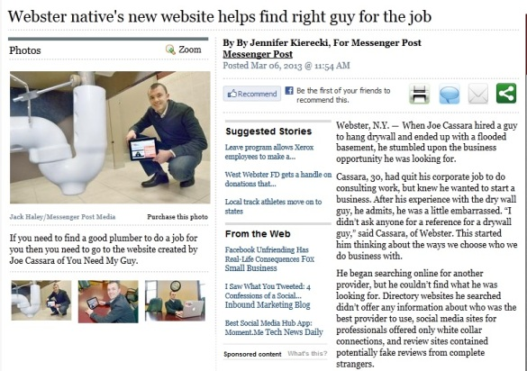 Webster native's new website helps find right guy for the jobMessenger Post Media